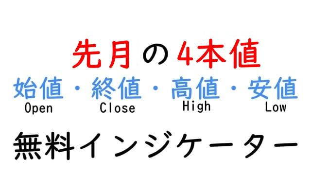 先月の4本値を表示できる無料インジケーター